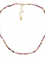 cheap -3mm Faceted Natural Tourmaline Bead Choker Necklace Adjustable Handmade Jewelry JT265-TO