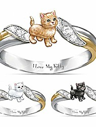 cheap -rings, women i love my kitty craved cat rhinestone dual color finger ring jewelry gift - white us 9