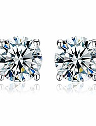 cheap -earrings end of line sparkling white crystal studs in sterling silver (6 mm style 4)