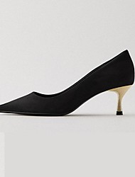 cheap -Women's Heels Stiletto Heel Pointed Toe Casual Daily Walking Shoes PU Solid Colored Black