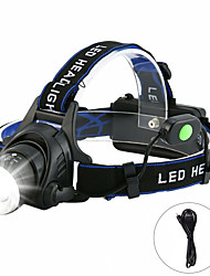 cheap -T6 headlamp Headlamps Waterproof 3000 lm LED LED 1 Emitters 4 Mode Waterproof Rotatable Portable Creepy Camping / Hiking / Caving Everyday Use Cycling / Bike Outdoor USB Natural White Light Source
