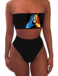 cheap -Women's New Sexy Tankini Swimsuit Abstract Print Bandeau Normal Strapless Swimwear Bathing Suits Black / 2 Piece