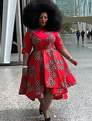cheap -Women's Plus Size Dress Swing Dress Knee Length Dress Half Sleeve Geometric Prom Dresses All Seasons
