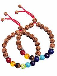 cheap -Chakra Natural Gemstone with Rudraksha & 1 Buddha Bead Yoga 8mm Beads Bracelet Reiki Healing Balancing Round Beads Unisex Bracelet