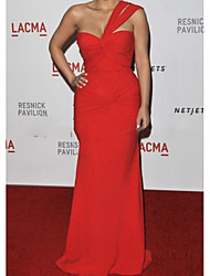 cheap -Mermaid / Trumpet Celebrity Style Elegant Prom Formal Evening Dress One Shoulder Sleeveless Floor Length Chiffon with Ruched 2020