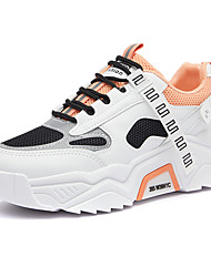 cheap -Women's Trainers Athletic Shoes Flat Heel Round Toe Sporty Casual Dad Shoes Athletic Outdoor Running Shoes Walking Shoes PU Lace-up Color Block White / Green Orange Gray
