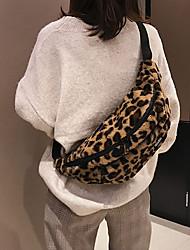 cheap -women's plush leopard print multifunctional fashion travel bag coin purse waist belt bag