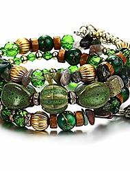cheap -Boho Bead Stackable Bracelets for Women - Vintage Multi Layer Colorful Beads Bracelets Bohemian Anklets Charm Birthstone Yoga Chain Stretch Beach Bangle (Green Yoga bracelet)