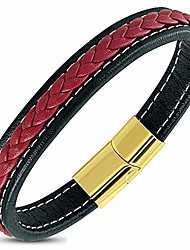 """cheap -stainless steel yellow gold-tone black red braided leather wristband bracelet, 8.5"""""""