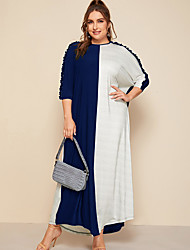 cheap -Women's Plus Size Dress T Shirt Dress Tee Dress Maxi long Dress Short Sleeve Check Prom Dresses Spring & Summer Fall & Winter