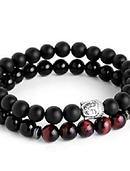 cheap -Gentleman Titanium Steel Skull Charm Bracelet Birthday Gift 8mm Natural Striped Stone Lucky Beads Male Bracelet - (Metal Color: Gold-Color, Length: XL 215mm(8.5in))