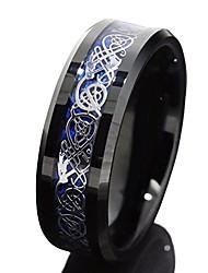 cheap -8mm Black Tungsten Carbide Ring Silvering Celtic Dragon Blue Carbon Fibre Wedding Band Mens Jewellery