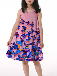 cheap -Kids Little Girls' Dress Butterfly Graphic Animal Print Blushing Pink Asymmetrical Sleeveless 3D Print Cute Dresses Loose