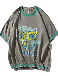 cheap -Men's T shirt Other Prints Cartoon Graphic Prints Print Short Sleeve Daily Tops 100% Cotton Casual Beach White Black Gray