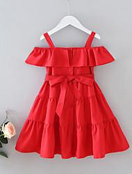 cheap -Kids Little Girls' Dress Solid Colored Bow Red Knee-length Sleeveless Cute Dresses Regular Fit