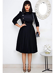 cheap -Women's Plus Size Dresses A Line Dress Knee Length Dress 3/4 Length Sleeve Solid Color Casual Spring & Summer / Loose