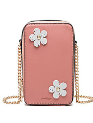 cheap -Women's Bags PU Leather Mobile Phone Bag Zipper Chain Flower / Floral 2021 Daily Holiday Black Blue Blushing Pink Orange