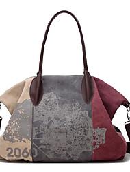 cheap -vintage large capacity women canvas casual hobos bag ladies crossbody bags ruched solid handbag