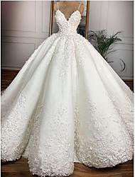 cheap -Princess Ball Gown Wedding Dresses V Neck Spaghetti Strap Floor Length Lace Satin Sleeveless Formal Romantic Luxurious with Appliques 2021