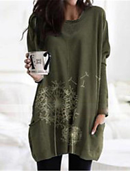 cheap -Women's Shift Dress Knee Length Dress Blue Fuchsia khaki Green Dark Gray Gray Short Sleeve Letter Summer V Neck Casual 2021 S M L XL XXL 3XL 4XL 5XL
