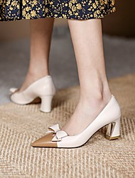 cheap -Women's Wedding Shoes Chunky Heel Pointed Toe Wedding Daily Nappa Leather Almond Light Green