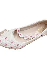 cheap -Women's Wedding Shoes Flat Heel Round Toe Wedding Flats Wedding Walking Shoes PU Rhinestone Lace Floral 3 cm heel [standard size] 5 cm heel [standard size] 8 cm heel [standard size]