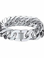 cheap -Steel Cuban Bracelet Metal 17mm 21cm Chunky Chain Link Bracelet Male Gift Christmas