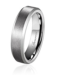 cheap -6MM Men Wedding Band Tungsten Ring Matte Brushed Silver Surface High Polished Inner Face Beveled Edges Engagement Anniversary Ring Comfort Fit K 1/2
