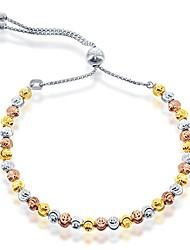 cheap -925 sterling silver italian adjustable bolo silver bracelets for women diamond cut, moonbeads beaded silver bracelet