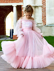 cheap -Princess / Ball Gown Floor Length Wedding / Party Flower Girl Dresses - Tulle Long Sleeve Jewel Neck with Tier