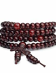 cheap -6mm108pcs Mala Bracelet Necklace Men's Women's Tibetan Buddhist Buddha Meditation Prayer Bead Prayer Buddha Mala Chinese Knot (Red)