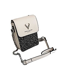 cheap -Women's Bags PU Leather Mobile Phone Bag Glitter Chain Sequin Letter Daily Going out 2021 Chain Bag Black / White White Black Silver