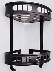 cheap -Bathroom Shelf Multilayer Bathroom Triangle Basket Black Double-layer  Space Aluminum Bathroom Corner Shelf Widening and Thickening