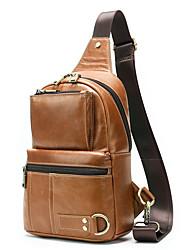cheap -Men's Bags Cowhide Crossbody Bag Zipper Chain Bag Daily Going out Brown
