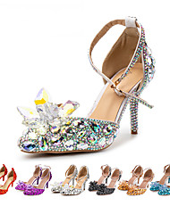 cheap -Women's Heels Stiletto Heel Pointed Toe Vintage Sexy Minimalism Wedding Party & Evening PU Crystal Sparkling Glitter Buckle Solid Colored Color Block Light Purple Blue Silver