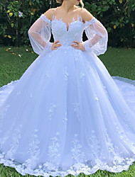 cheap -Ball Gown Wedding Dresses Jewel Neck Sweep / Brush Train Lace Long Sleeve Formal Romantic with Appliques 2021