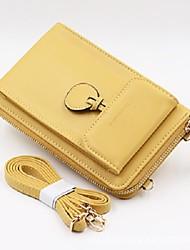 cheap -Women's Bags PU Leather Wallet Zipper Plain Printing 2021 Daily Date Black Blue Yellow Blushing Pink