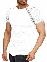 cheap -Men's Tees T shirt Solid Color Short Sleeve Street Tops Cotton Basic Casual ArmyGreen White Black