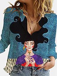 cheap -Women's Blouse Shirt Portrait Long Sleeve Print Shirt Collar Tops Blue Green