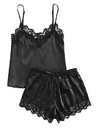 cheap -Women's Lace Satin Sleepwear Cami Top and Shorts Pajama Set Black B M