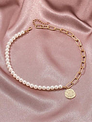 cheap -Women's Pearl Pendant Necklace Classic Flower Fashion Alloy Gold 45+5 cm Necklace Jewelry 1pc For Party Evening Gift Birthday Party Festival