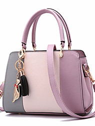 cheap -stitching pu leather designer purses and handbag casual shoulder bag warm sweet tote with tassels for women daily