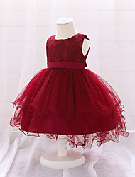 cheap -Toddler Little Girls' Dress Jacquard Pleated Lace Wine Asymmetrical Sleeveless Streetwear Cute Dresses Children's Day Slim