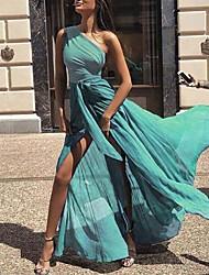 cheap -Women's Swing Dress Maxi long Dress Blue Orange Green Light Green Light Blue Sleeveless Solid Color Lace up Patchwork Spring Summer One Shoulder Elegant Sexy 2021 S M L XL XXL