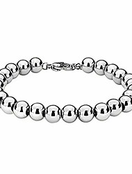 cheap -Fashion 8mm 316L Stainless Steel Rosary Beaded Chain Bracelet for Women Men 7-11 inches(Silver, 8 inches)