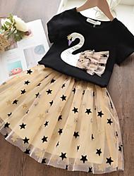 cheap -Kids Little Girls' Dress Galaxy Animal Patchwork Print Black Cotton Midi Basic Cute Dresses Regular Fit 2-8 Years
