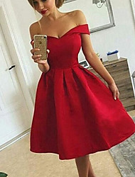 cheap -A-Line Vintage Sexy Homecoming Cocktail Party Dress Off Shoulder Sleeveless Knee Length Satin with Sleek 2020