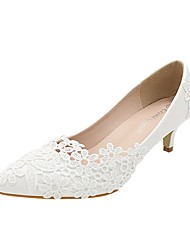 cheap -Women's Wedding Shoes Stiletto Heel Pointed Toe Wedding Pumps Sweet Wedding PU Lace Solid Colored White
