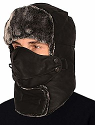 cheap -Winter Trooper Hat Hunting Warm Hat Unisex-Trapper Hat Ushanka Ear Flap Chin Strap and Windproof Mask Black