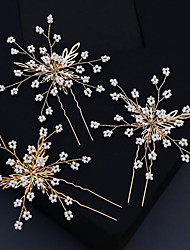 cheap -Wedding Sweet Beaded / Alloy Headdress / Hair Stick with Petal / Beading / Split Joint 3 Pieces Wedding / Party / Evening Headpiece